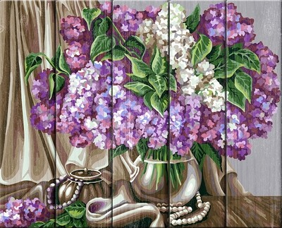 "Картина по номерам по дереву ""Натюрморт с сиренью. Жанна Когай"", 40х50см, ФРЕЯ, PKW-1 58"