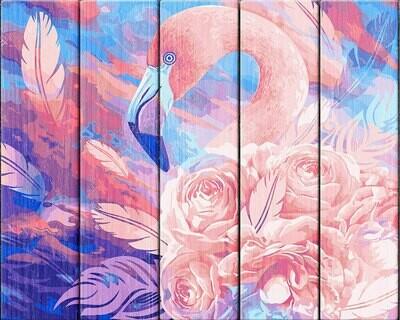 """Картина по номерам по дереву """"Розовый фламинго"""", 40х50см, ФРЕЯ, PKW-1 40"""
