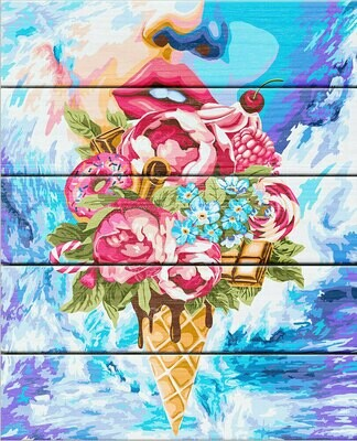 "Картина по номерам по дереву ""Сладкий букет"", 40х50см, ФРЕЯ, PKW-1 44"