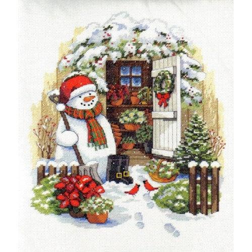 "Набор для вышивания ""DIMENSIONS"" 08817 ""Снеговик во дворе"", 36х30см"