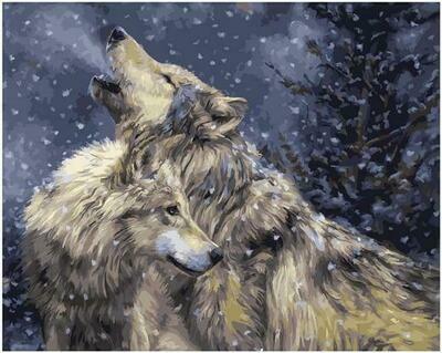 Картина по номерам GX 34918 Волчий вой в зимнем ночном лесу 40х50см