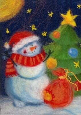 """Картина из шерсти WA-0180 """"Новогодний снеговик"""""""