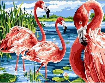 Картина по номерам GX 32419 Фламинго в воде 40*50
