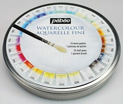 """Краска акварель """"PEBEO"""" набор Aquarelle Fine в металлической коробке с кистью 300078 24 цв."""