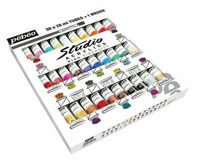 """Краска акриловая """"PEBEO"""" набор Studio Acrylics с кистью 30 цв. 20 мл"""