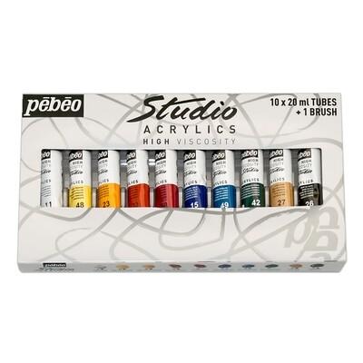 """Краска акриловая """"PEBEO"""" набор Studio Acrylics с кистью 10 цв. 20 мл"""