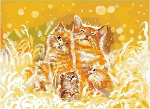 Картина по номерам PKC 76010 Счастье быть семьёй/ Коты (Логинова Аннет) 30х40см