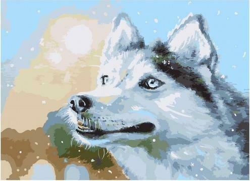 Картина по номерам PKC 76014 Снежный/ Собака (Логинова Аннет) 30х40см