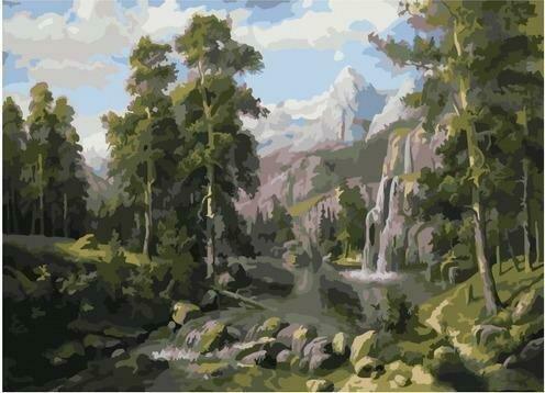 Картина по номерам PKC 76035 Пейзаж с водопадом (Потапов Виталий) 30х40см