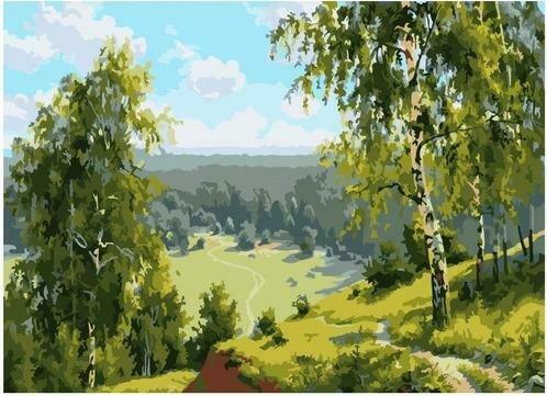 Картина по номерам PKC 76038 Березовая долина (Прищепа Игорь) 30х40см