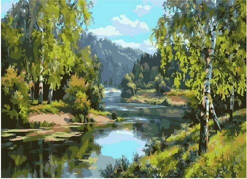 Картина по номерам PKC 76039 У реки (Прищепа Игорь) 30х40см