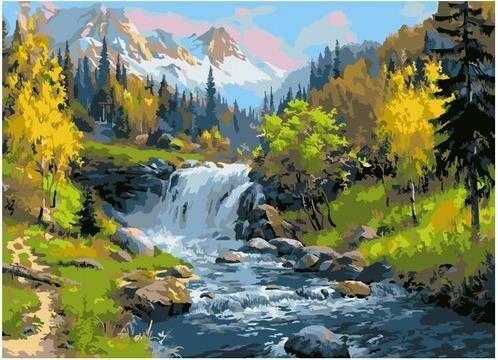 Картина по номерам PKC 76041 Горный ручей (Прищепа Игорь) 30х40см