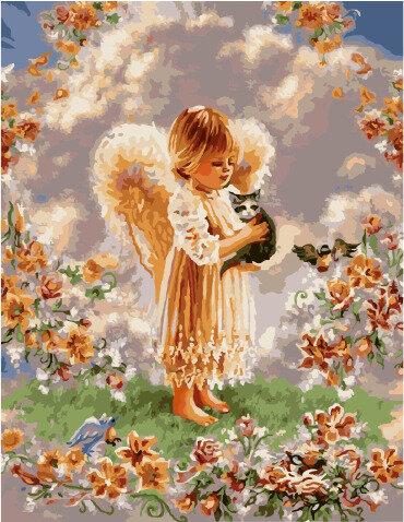 Картина по номерам GX 9088 Ангелок с серым котенком 40х50см