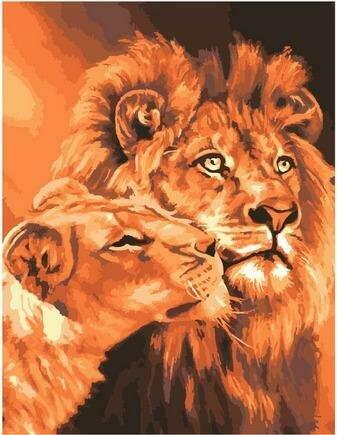 Картина по номерам GX 7279 (GX 37038) Львиная любовь (Самарская Елена) 40х50см