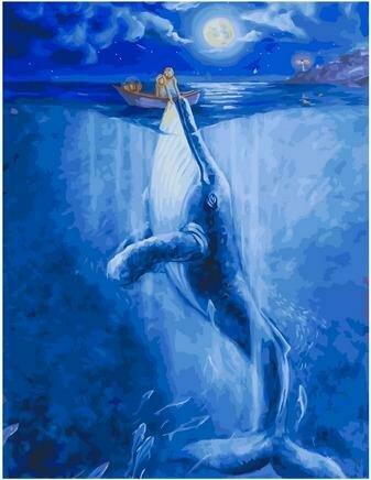 Картина по номерам PK 79059 Встреча с китом в полнолуние (Ольховая Юлия) 40х50см