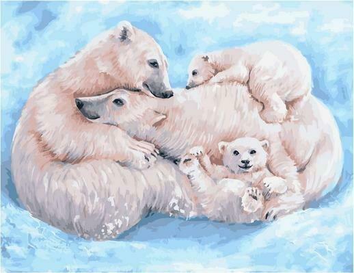 Картина по номерам PK 79060 Все вместе. Семья белых медведей (Ольховая Юлия) 40х50см