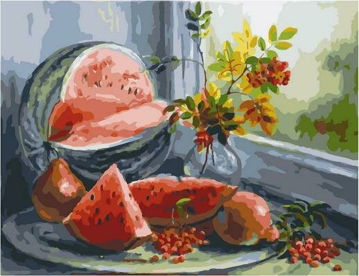 Картина по номерам PK 79033 Натюрморт с арбузом (Воробьёва Ольга) 40х50см