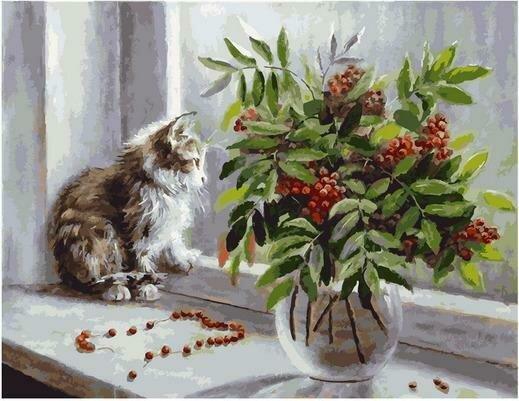 Картина по номерам PK 79046 Рябиновые бусы (Воробьёва Ольга) 40х50см