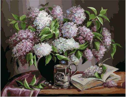 Картина по номерам Премиум PK 79003 Остывший чай с сиреневым ароматом (Воробьёва) 40х50см