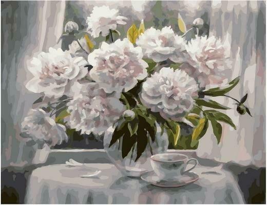 Картина по номерам PK 79010 Белые пионы (Воробьёва Ольга) 40х50см