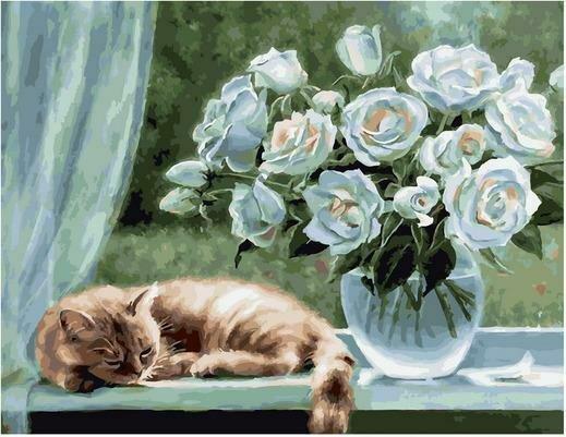 Картина по номерам PK 79011 Белые розы (Воробьёва Ольга) 40х50см