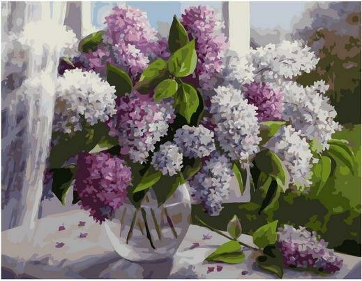 Картина по номерам PK 79050 Сирень на окне (Воробьёва Ольга) 40х50см