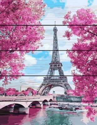 Картина по номерам по дереву PKT 24027 Весенняя Франция 40*50