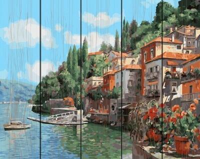Картина по номерам по дереву GXT 26066 Городок у моря 40*50