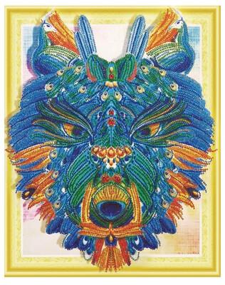 Алмазная мозаика 3D LP 001 Грозный волк 40*50, неполная выкладка
