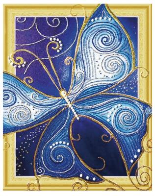 Алмазная мозаика 3D LP 006 Голубые крылья бабочки 40*50, неполная выкладка