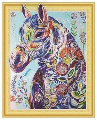 Алмазная мозаика 3D LP 019 Разноцветная лошадь 40*50, неполная выкладка
