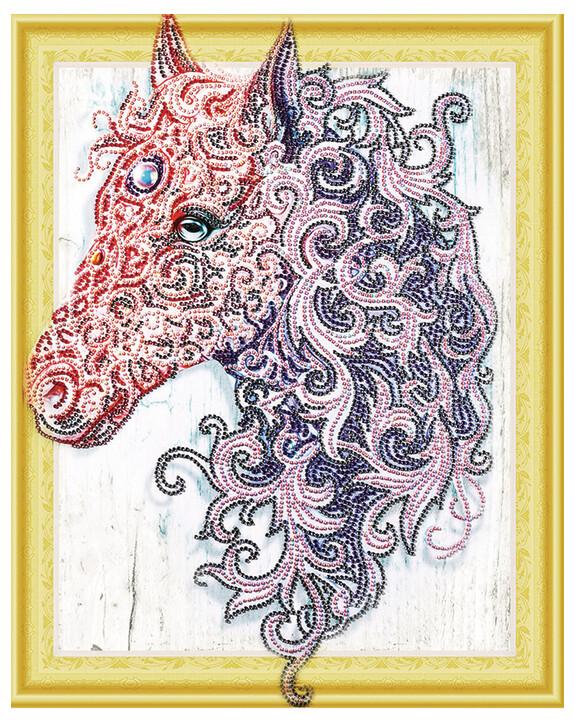 Алмазная мозаика 3D LP 009 Лошадь в кружевах 40*50, неполная выкладка