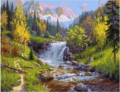 Картина по номерам Paintboy по дереву PKT 59032 Горный ручей 40х50 см