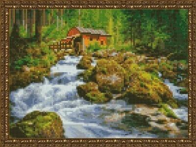 Алмазная мозаика ВанГогВоМне EQ 10352 Дом у лесного водопада 30х40 см