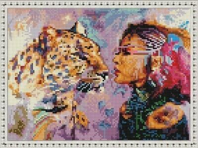 Алмазная мозаика ВанГогВоМне EQ 10383 Девушка и леопард 30х40 см
