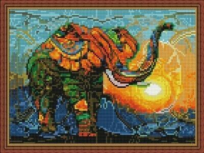 Алмазная мозаика ВанГогВоМне EQ 10285 Слон на закате 30х40 см