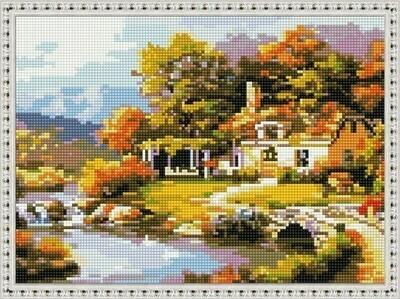 Алмазная мозаика ВанГогВоМне EQ 10333 Осенний домик 30х40 см