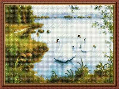 Алмазная мозаика ВанГогВоМне EQ 10297 Белые лебеди 30х40 см