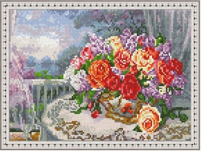 Алмазная мозаика ВанГогВоМне EQ 10321 Розы на веранде 30х40 см
