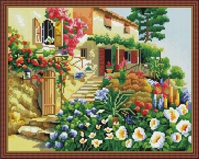 Алмазная мозаика ВанГогВоМне EW 10412 Дом в цветах 40х50 см