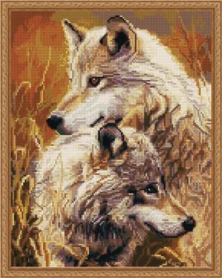 Алмазная мозаика ВанГогВоМне EW 10034 Семья волков 40х50 см