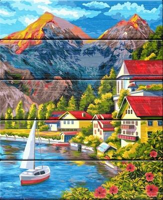 "Картина по номерам по дереву ""Городок в горах"", 40х50см, ФРЕЯ, PKW-1 64"