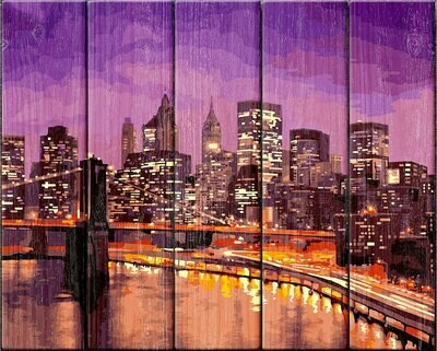 """Картина по номерам по дереву """"Нью-Йорк"""", 40х50см, ФРЕЯ, PKW-1 47"""