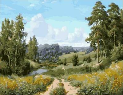 Картина по номерам PK 59031 (GX 5775) Мостик через речку (Прищепа Игорь) 40х50см