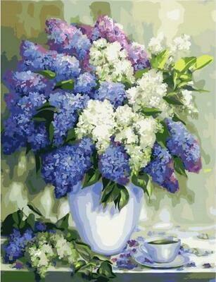 Картина по номерам GX 26471 Сирень и чашка чая 40*50