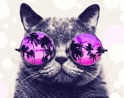 Картина по номерам GX 29637 Кот в круглых очках 40*50