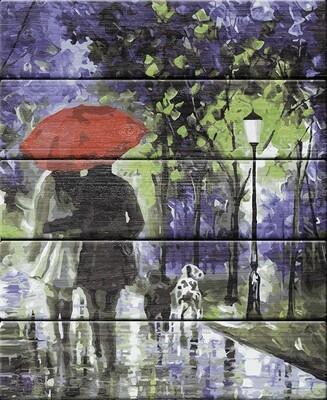 """Картина по номерам по дереву """"Под красным зонтом"""", 40х50см, ФРЕЯ, PKW-1 84"""