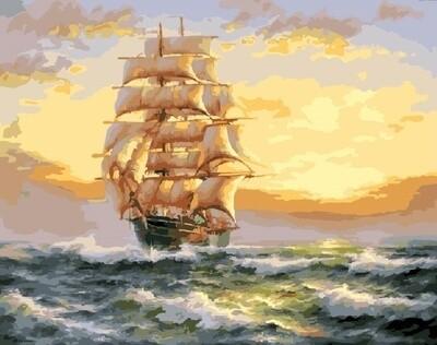 Картина по номерам 40х50см - Корабль на закате