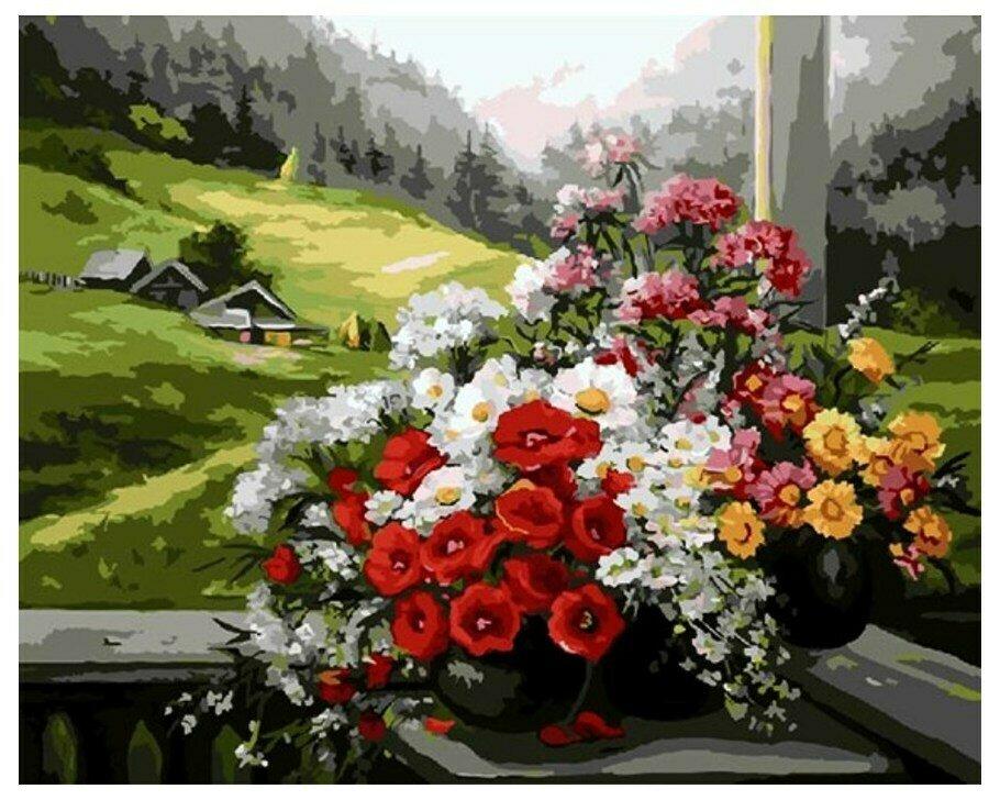 Картина по номерам Paintboy GX 9500 Букет на окне (худ. Anca Bulgaru) 40x50см
