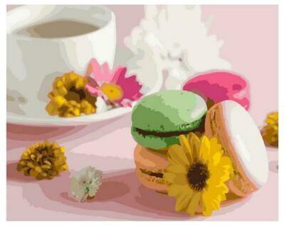 Картина по номерам Paintboy GX 37550 Чашка кофе с миндальным печеньем 40x50см